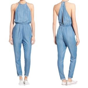 RVCA Blue Chambray Be About It Jumpsuit Size M